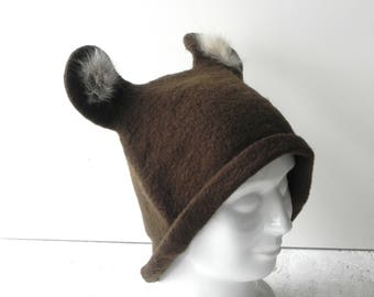 Felt hat, dark brown hat, felted original hat, woman hat from wool, Ready to send