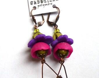 Boucles d'oreilles petites clochettes polymère