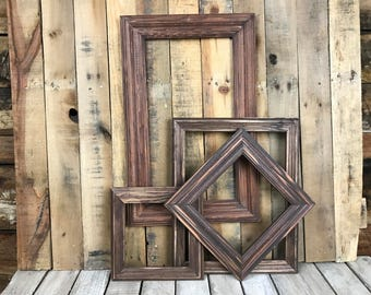 ON SALE - Mahogany Stain Picture Frame Set of 4 , Rustic Set, 7x7, 8x8, 10x18, 11x14, Photo Frame, Gallery Frame Set, Lot 234