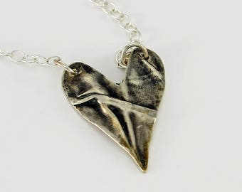 Fold Formed Heart Handcrafted Sterling Silver Heart Pendant Contemporary Organic Style Modern Artisan Jewelry Design 4447817282817