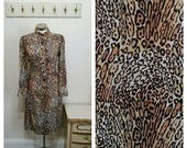 Clear Out Sale 1960's Leopard Print Shirtwaist Dress, I. Magnin Co., Brown and Tan, Size 36 Bust, #65007