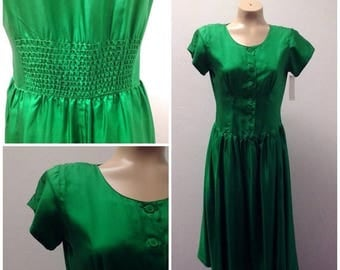 Clear Out Sale Vintage, 1970s Silk Drop Waist Skirt Style Dress, Full Skirt, Bright Green, Size Small/Medium,  #49876