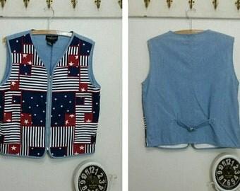 Vintage Carole Little Patriotic Flag Vest, Cotton, NWT, Size M, 90's