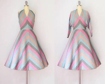 Vintage 1950's Quilted Halter Dress
