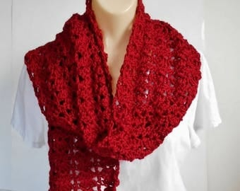 SALE Long Red Scarf, Crochet Burgundy Lacey Soft Handmade Scarf, Gift  for Women, Any Size Crochet Wrap Scarf
