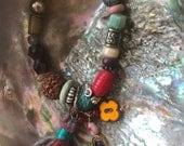 Beaded yoga bracelet,chunky bracelet, tribal bracelet, flow bracelet,hippy bracelet, mixed bead mala, om/tassel charm, hamsa  mala Zasra