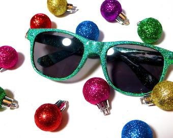 Green Holographic Glitter Sparkly Wayfarer Style Sunglasses