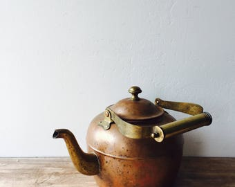 Vintage Copper and Brass Tea Pot, vintage copper tea pot, brass tea pot