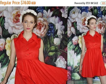 On SALE 35% Off - 1960s Vintage Short Red Pleated Mini Babydoll Dress - 60s Clothing - WV0408