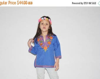 FLASH SALE - Kid's Vintage Top - 1970s Girl's Mexican Top -  The Peace Groovy Baby Top - K0002
