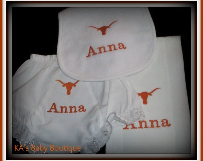 Longhorn Baby bloomers, baby bib, longhorns baby gift, Orange baby bib, football baby bib, baby girl bloomers, baby shower gift, embroidery