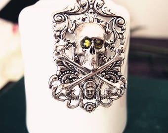 Asmodeus No.3-- Swarovski green crystal,aged silver brass dragon skull gothic necklace