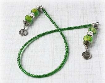 ON SALE Green Bookmark Beaded Bookmark Book Thong Book String Book Cord Book Lover Reader Gift Book Worm Book Bling Reading Tool Place Holde