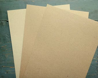 """25 Sheets Kraft Card Stock, 8.5x11"""" Cardstock, 100% Recycled 8 1/2x11"""" (216x279mm) 65-105lb. cover, grocery bag kraft brown or light brown"""