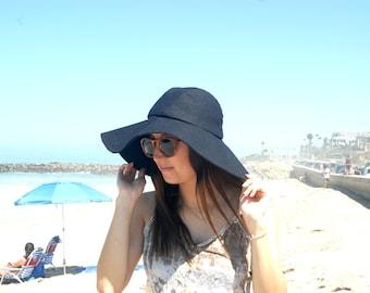 Floppy Black Sun Hat Wool Winter Hat Womens Wide Brim Boho Chic Sunhat Travel Hat Vacation Foldable  Freckles California