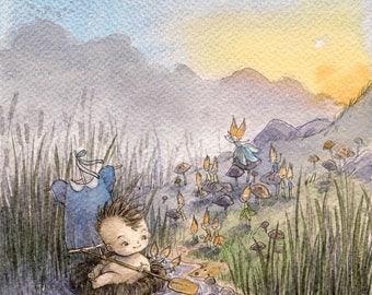 Peter Pan nursery art - large watercolor painting - Peter Pan in Kensington Gardens illustration - original artwork - book illustration