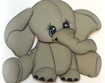 Adorable sitting elephant animal premade paper piecing 3d die cut by my tear bears kira