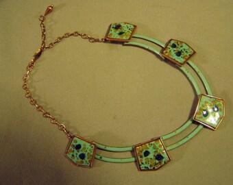 Vintage 1950s Matisse Renoir Enamel Aqua Turquoise Necklace 9324