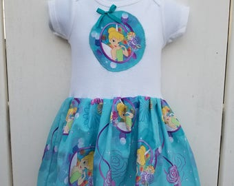 SALE - Size 6-9 Mos Aqua Tinkerbell Short Sleeve Onesie Dress  Li Li Fox Boutique