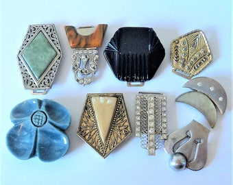 9x Vintage Half Buckles... Repurpose Lot... Mixed Color and Material