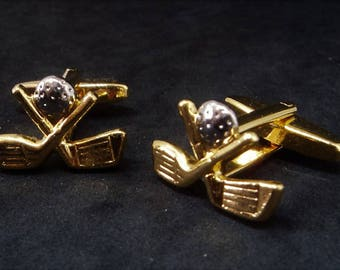 Bright Gold Hinged Cufflinks... Golf Clubs & Ball... c.1990s