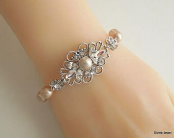champagne Pearl Bracelet Bridal Bracelet wedding bracelet Statement Bridal Bracelet Pearl and Rhinestone Bracelet Swarovski bracelet DINA
