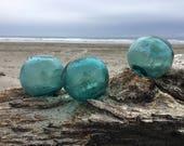 Japanese Glass Fishing Floats, Set of 3, Shades of Teal Blue, Alaska Beachcombed, Tri Molds