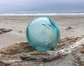 Japanese Glass Fishing Float, Tri Mold, Ice Blue, Frosted, Alaska Beachcombed, Uncommon Mark