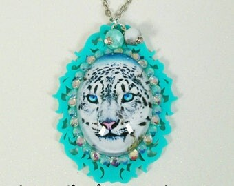 LEOPARD CAMEO- 30x40mm Aqua Blue Filigree Laser Cut Acrylic Cameo with Galaxy Leopard Glass Cabochon Pendant Necklace
