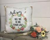 Will you be my flower girl - Mermaid Pillow - Flower Girl Proposal - Hidden Message Pillow - Custom Pillow - Reversible Sequin Pillow