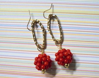 Red Coral Earrings (3643)