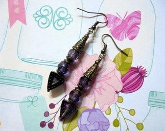 Purple and Brass Boho Earrings (3696)