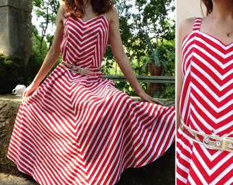 80s does 1940s French VTG red white stripes cotton dress //full circle sz M