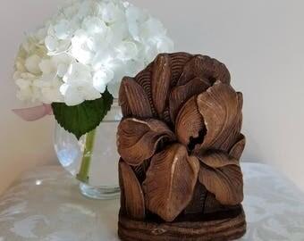 Vintage Bookend Iris Flower Faux Carved Wood & Metal, Botanical Garden Floral, Art Nouveau Style