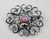 Austrian Brooch Pink Glass Silvertone Filigree Brooch Antique Jewelry Faux Agate European Antique European Jewelry Vintage Austrian