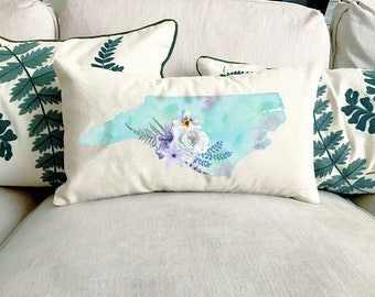 NC Watercolor Floral State Pillow   Cotton Canvas Pillow   Pillow Form Included