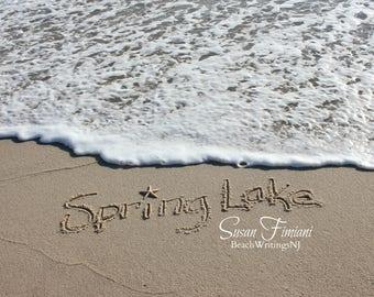 Spring Lake Sand Beach Writing  Fine Art Photo Jersey Shore