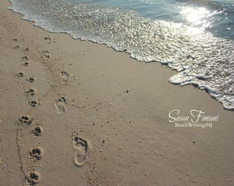 Barefoot and Paw Print on the Beach in the Sand 5x7 8x10 Printed fine art photo