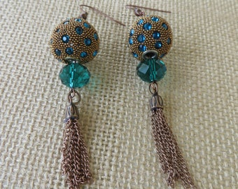 Teal And Copper Toned Mixed Texture Statement Earrings