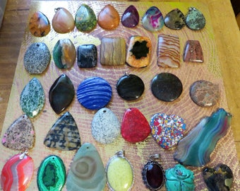 Large Lot of 35 Assorted Gemstone Pendants