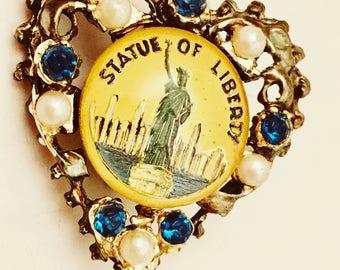 Statue of Liberty Jewelry Heart Pearl Blue Rhinestones Pin Brooch