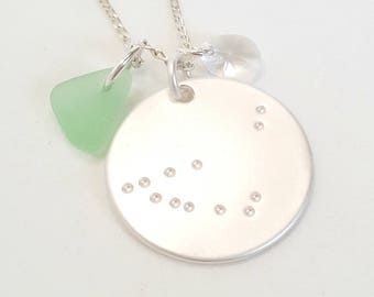 Zodiac Necklace, Sea Glass Zodiac Necklace, Constellation Necklace, Sea Glass Birthday Gift, Star, Beach Glass Necklace, Celestial  Jewelry