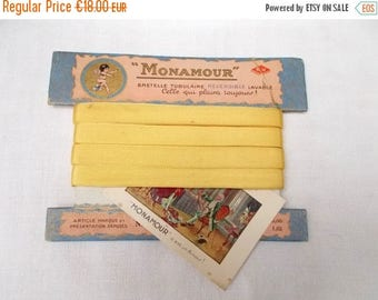 """SALE 10% OFF Antique French Ribbon on Original Card  """"MONAMOUR""""  with Fabulous Graphics. Lemon.  11mm wide    (1290c)"""