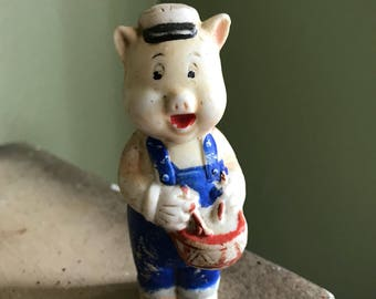 Walt disney bisque pig playing drum