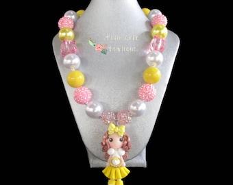 Little Girl Lemon Pie Necklace/Toddler Necklace/Bead Necklace/Girls Chunky Necklace/Lemonade Birthday Jewelry/Bubble Gum Bubblegum Necklace