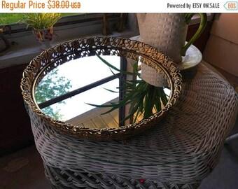 Summer Sale Vintage mirrored dresser tray, Gold mirrored dresser tray