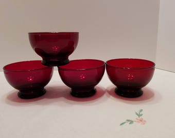 Ruby Red Sherbert Cups - Custard Cups - Dessert Cups - Anchor Hocking Vintage Red Glass - Set of 4