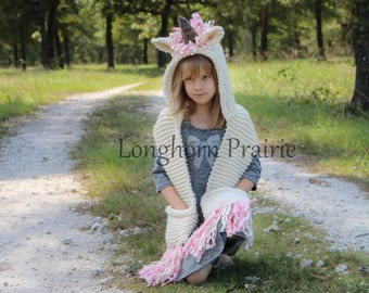Unicorn Hooded Scarf (toddler to adult sizes)
