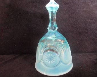 Rare Vintage Fenton Moon & Stars Blue Opalescent Bell