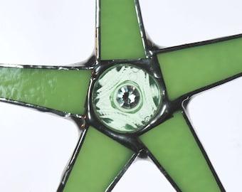 Jadeite Jem- 7 inch jadeite art glass star with vintage glass button center--limited edition of 5